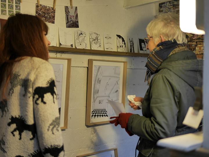 Meeting resident artist Mai Sanchez (left).