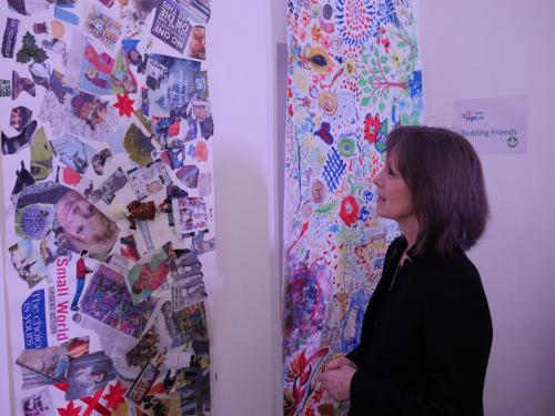 The Deputy Lord Mayor admires the art